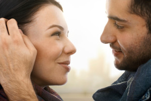 Close-up photo of romantic couple